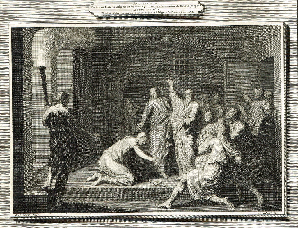 "Antique Bible Print by Mortier - ""PAUL & SILAS IN PRISON""  - Copper Engraving - 1700"