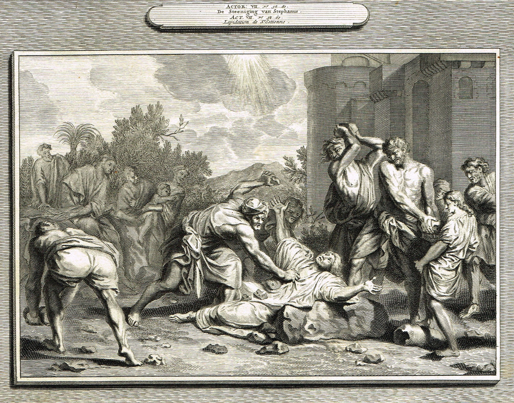 "Antique Bible Print by Mortier - ""STONING OF ST. STEPHEN""  - Copper Engraving - 1700"