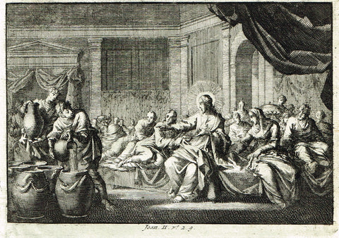 "Luyken Bible Print - ""MARRIAGE AT CANA - JOAN II"" - Copper Engraving - 1700"