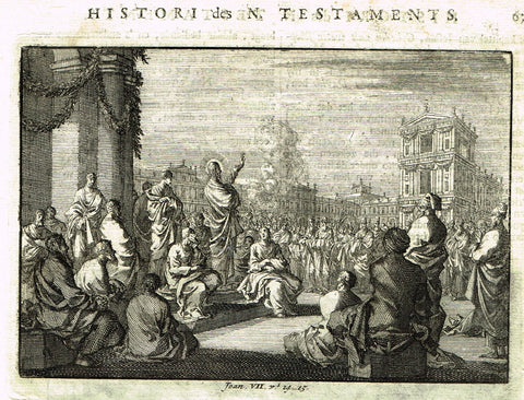 "Luyken Bible Print - ""JESUS IN JERUSALEM SUKKOT - JOAN VII"" - Copper Engraving - 1700"