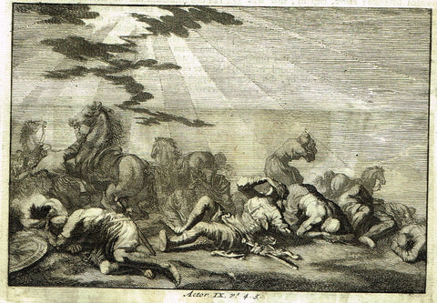 "Luyken Bible Print - ""ST. PAUL'S CONVERSION"" - Copper Engraving - 1700"