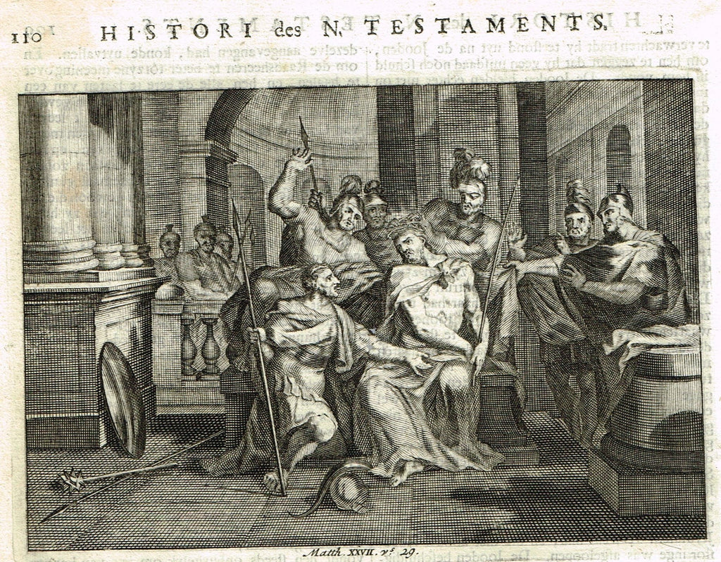 "Luyken Bible Print - ""JESUS AND PILATE"" - Copper Engraving - 1700"
