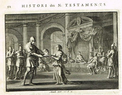 "Luyken Bible Print - ""JOHN THE BAPTIST BEHEADED"" - Copper Engraving - 1700"