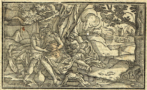 "Dutch Bible Print - ""SODOM AND GOMORRAH"" - Woodcut - 1636"