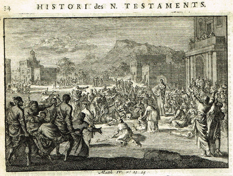 "Luyken Bible Print - ""PARABLE OF THE RICH MAN"" - Copper Engraving - 1700"