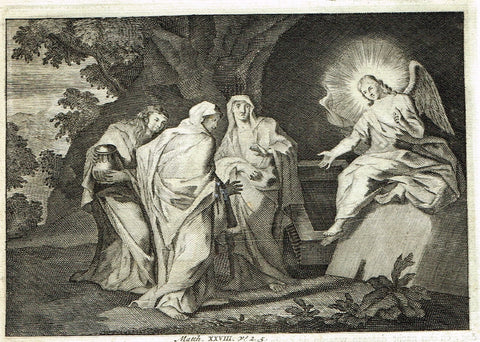"Luyken Bible Print - ""MARY AND ANGEL NEAR JESUS'S GRAVE"" - Copper Engraving - 1700"