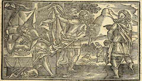 "Dutch Bible Print - ""NOHAH GETS DRUNK"" - Woodcut - 1636"