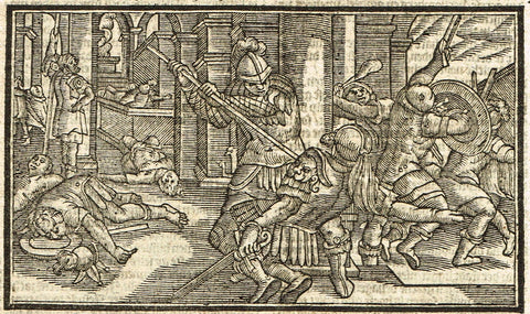"Dutch Bible Print - ""CENTURIAN IS SPEARED"" - Woodcut - 1636"