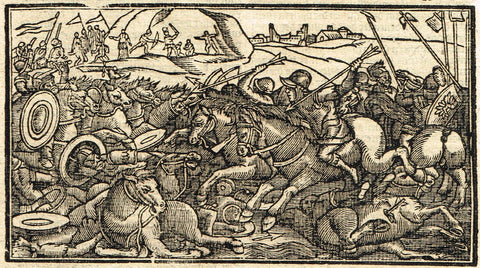 "Dutch Bible Print - ""TITUS BATTLE 2"" - Woodcut - 1636"