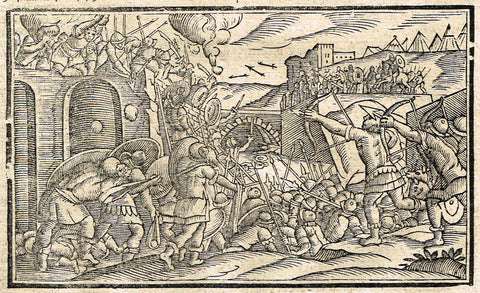"Dutch Bible Print - ""SIEGE OF JERUSALEM HEROD"" - Woodcut - 1636"