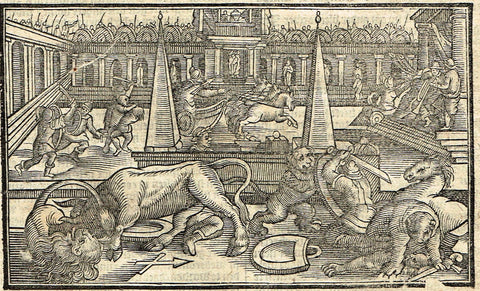"Dutch Bible Print - ""HEROD LION HORSE"" - Woodcut - 1636"