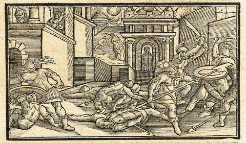 "Dutch Bible Print - ""BATTLE IN THE TEMPLE"" - Woodcut - 1636"