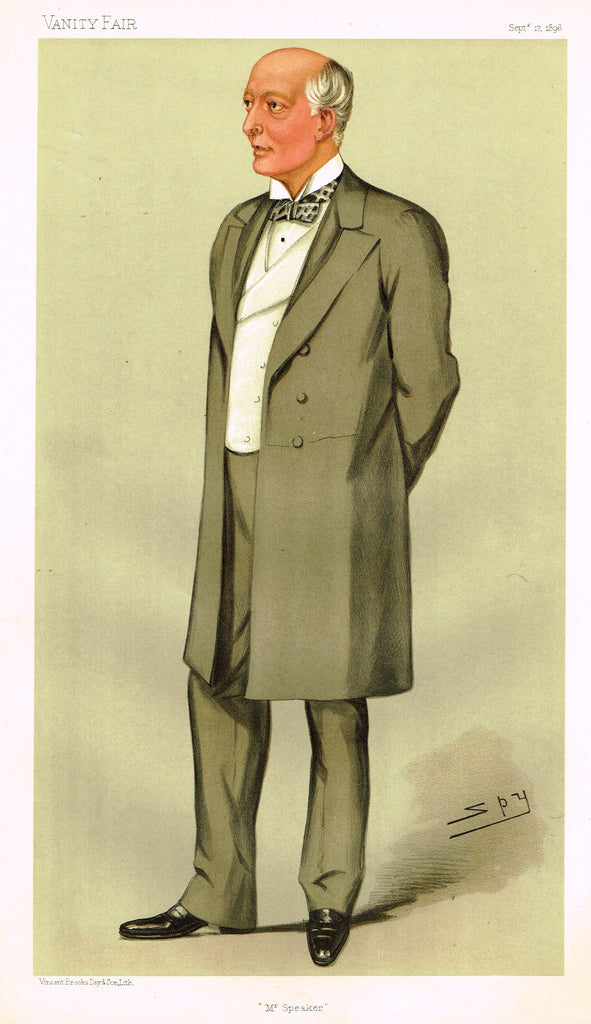 "Vanity Fair (SPY) Print - ""MR SPEAKER"" - RT. HON WILLIAM GULLY - Chromolithograph - 1896"