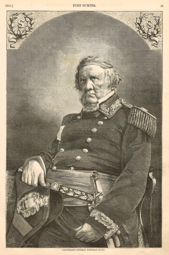 "Harper's Pictorial History - ""LIEUTENANT GENERAL WINFIELD SCOTT"" -  Large Engraving - 1866"