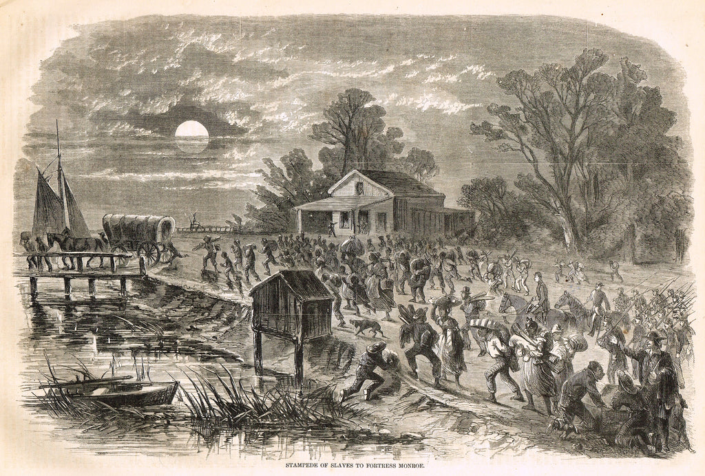 "Harper's Pictorial History - ""STAMPEDE OF SLAVES TO FORTRESS MONROE"" -  Large Engraving - 1866"
