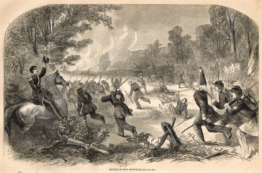 "Harper's Pictorial History - ""BATTLE OF RICH MOUNTAIN, July 13, 1861"" -  Large Engraving - 1866"