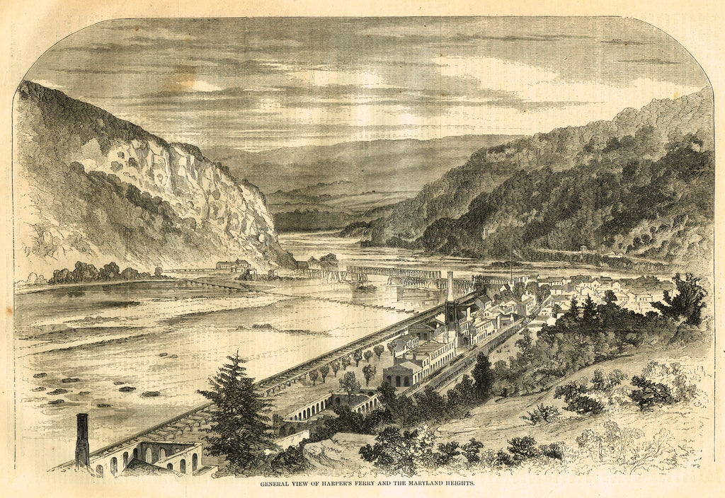 "Harper's Pictorial History - ""HARPER'S FERRY & THE MARYLAND HEIGHTS"" -  Large Engraving - 1866"