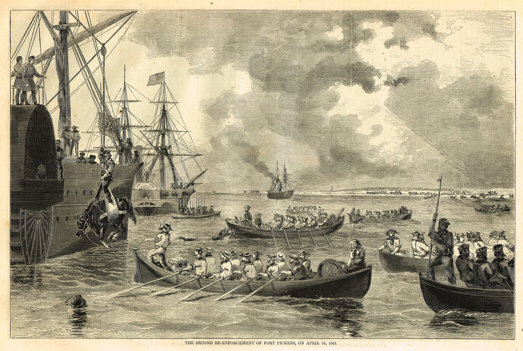 "Harper's Pictorial History - ""SECOND RE-ENFORCEMENT OF FORT PICKENS"" -  Large Engraving - 1866"