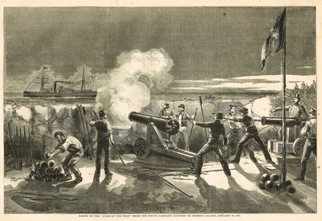 "Harper's History - FIRING ON 'THE STAR OF THE WEST' FROM MORRIS'S ISLAND""-  Engraving - 1866"