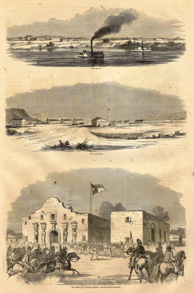 Harper's History - THE ALAMO, GENERAL TWIGG'S HEAD-QUARTERS - Engraving - 1866