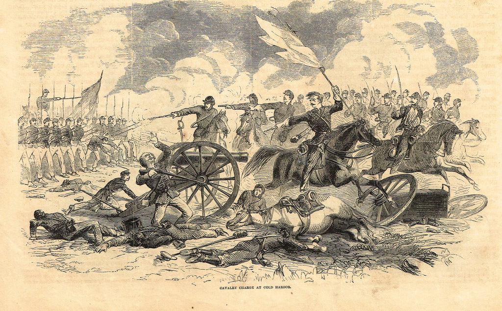 "Harper's Pictorial History - ""CAVALRY CHARGE AT COLD HARBOR"" -  Engraving - 1866"