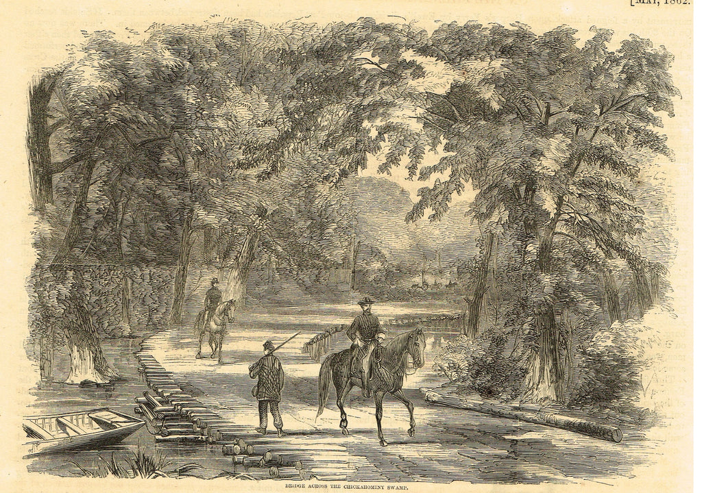 "Harper's Pictorial History - ""BRIDGE ACROSS THE CHICKAHOMINY SWAMP"" -  Large Engraving - 1866"