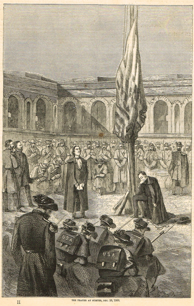 "Harper's Pictorial History - ""THE PRAYER AT SUMTER, DEC. 26, 1860"" - Engraving - 1866"