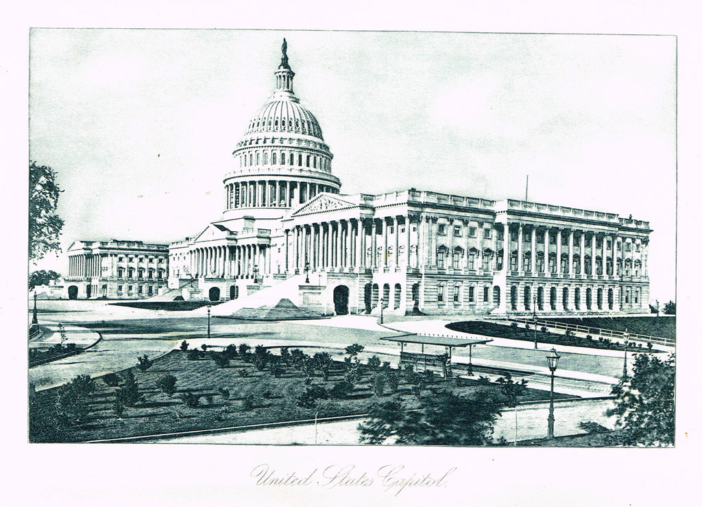 "Photogravure Print - ""UNITED STATES CAPITAL""  - Topographical - c1890"