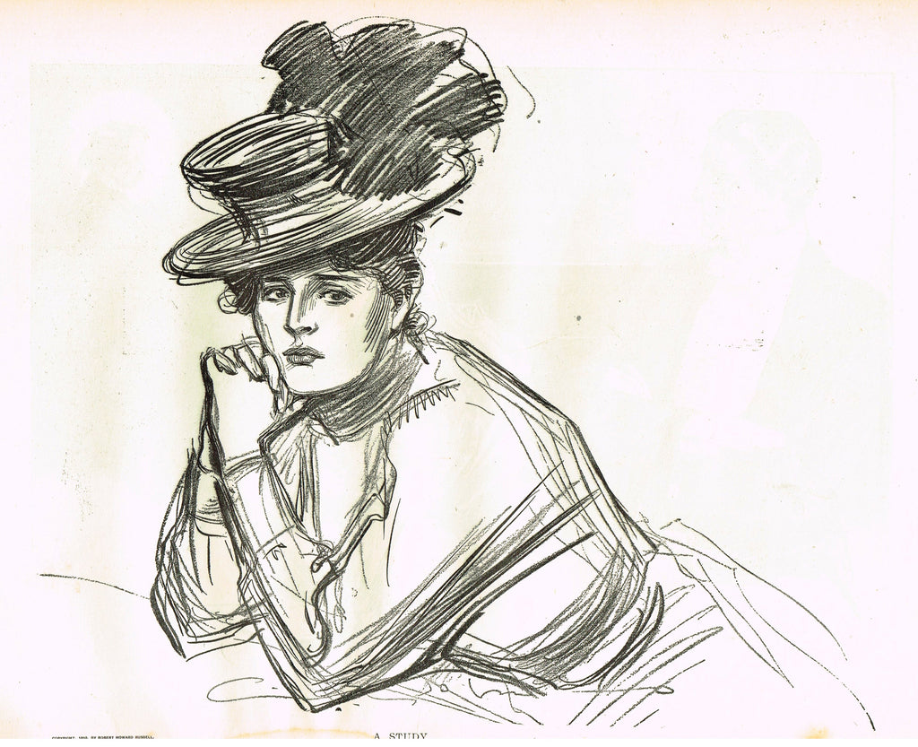 "Gibson Girl Sketch - ""A STUDY"" - Lithograph Sketch - 1907"