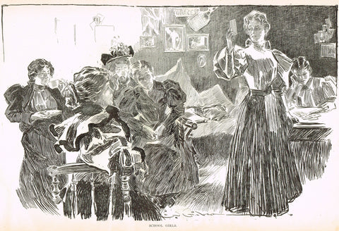 "Gibson Girl Sketch - ""SCHOOL GIRLS"" - Lithograph Sketch - 1907"