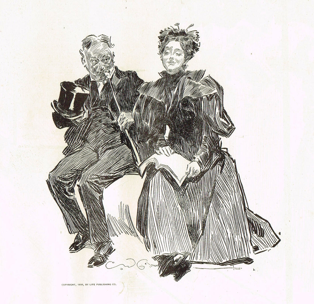 "Gibson Girl Sketch - ""LECHEROUS GAZE ?"" - Lithograph Sketch - 1907"
