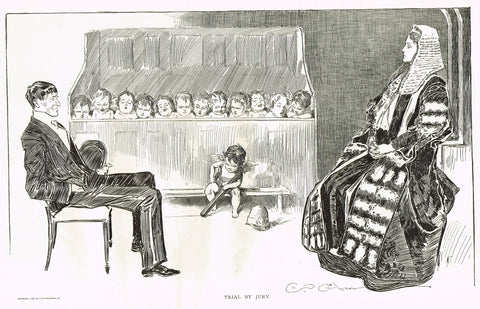"Gibson Girl Sketch - ""TRIAL BY JURY"" - Lithograph Sketch - 1907"