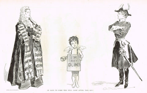 "Gibson Girl Sketch - ""IN DAYS TO COME, WHO WILL LOOK AFTER THIS BOY?"" - Lithograph Sketch - 1907"