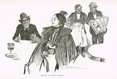 "Gibson Girl Sketch - ""THE DAY OF CARNOT'S FUNERAL"" - Lithograph Sketch - 1907"