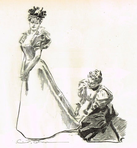 "Gibson Girl Sketch - ""HEMMING THE DRESS"" - Lithograph Sketch - 1907"