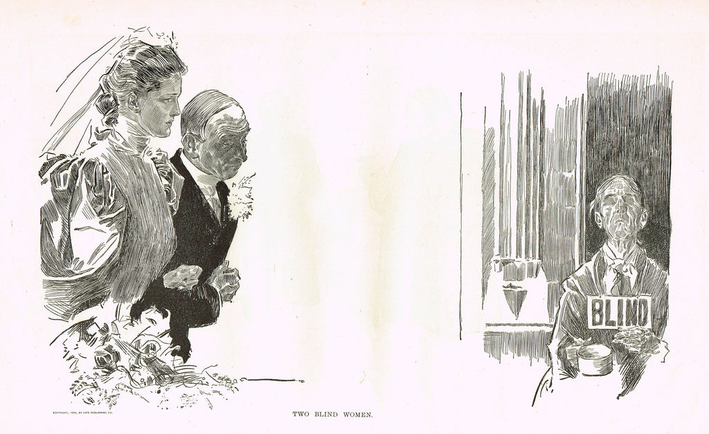 "Gibson Girl Sketch - ""TWO BLIND WOMEN"" - Lithograph Sketch - 1907"