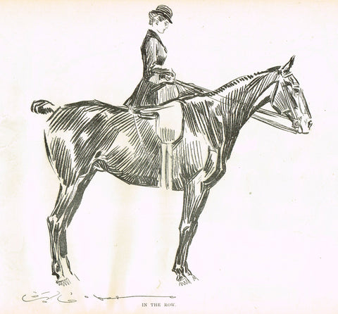 "Gibson Girl Sketch - ""IN THE ROW"" - Lithograph Sketch - 1907"