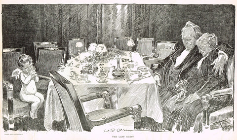 "Gibson Girl Sketch - ""THE LAST GUEST"" - Lithograph Sketch - 1907"