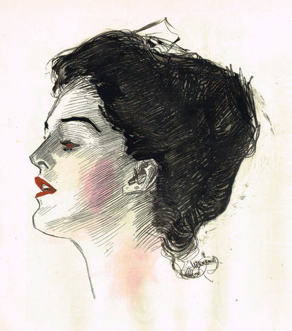 "Gibson Girl Sketch - ""LIPSTICK & ROUGE"" - Lithograph Sketch - 1907"