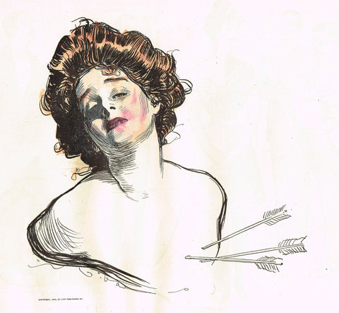 "Gibson Girl Sketch - ""THREE ARROW IN THE HEART"" - Lithograph Sketch - 1907"