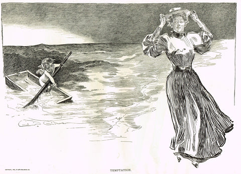"Gibson Girl Sketch - ""TEMPTATION"" - Lithograph Sketch - 1907"