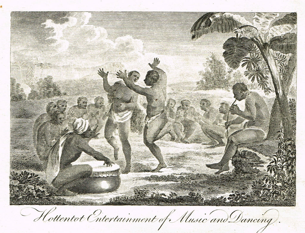 "Bankes's Geography - ""HOTTENTOT ENTERTAINMENT OF MUSIC AND DANCING"" - Copper Engraving - 1771"