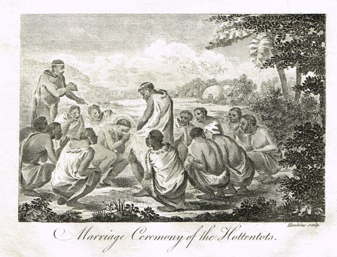 "Bankes's Geography - ""MARRIAGE CEREMONY OF THE HOTTENTOTS"" - Copper Engraving - 1771"