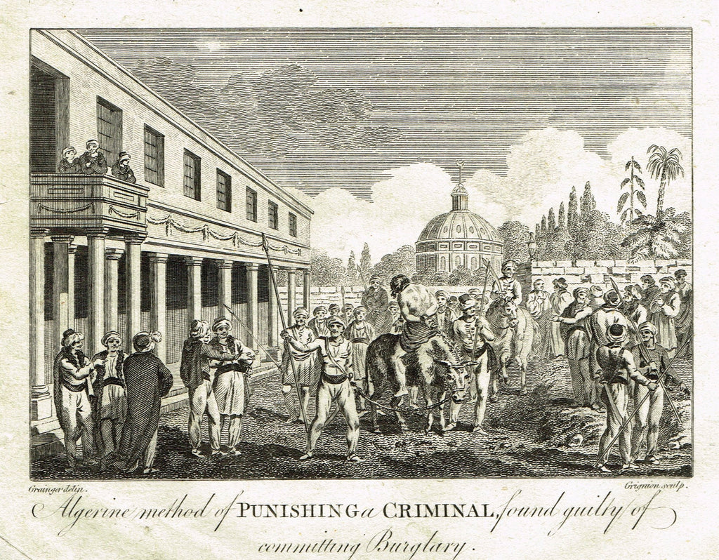 "Bankes's - ALGERINE METHOD OF PUNISHING A CRIMINAL FOUND GUILTY OF BURGLARY"" - Engraving - 1771"