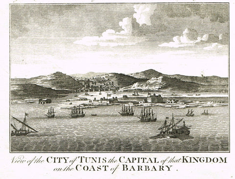 Bankes's Geography - VIEW OF TUNIS, CAPITAL OF KINGDOM ON THE COAST OF BARBARY - Engraving - 1771