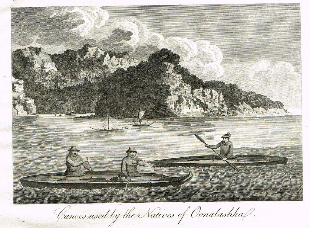 "Bankes's Geography - ""CANOES USED BY THE NATIVES OF OONALASHKA"" - Copper Engraving - 1771"