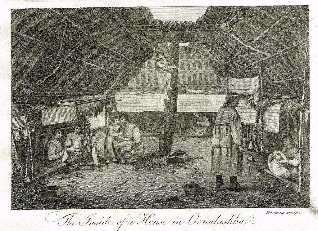 "Bankes's Geography - ""THE INSIDE OF A HOUSE IN OONALASHKA"" - Copper Engraving - 1771"