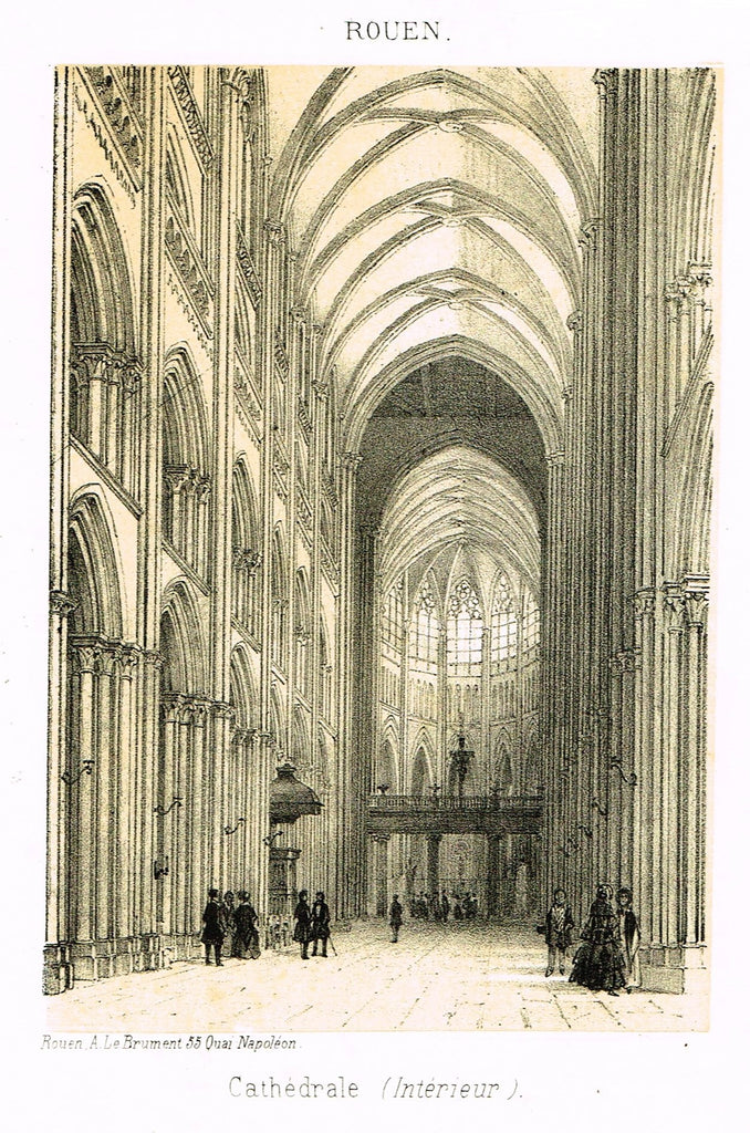 "Cathedrals in Rouen, France - ""CATHEDRALE (INTERIEUR)"" - Tinted Engraving - c1860"