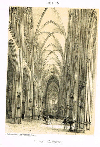 "Cathedrals in Rouen, France - ""AT. OUEN (INTERIEUR)"" - Tinted Engraving - c1860"