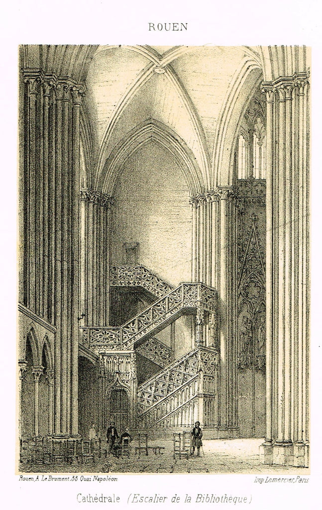 "Cathedrals in Rouen, France - ""CATHEDRALE (ESCALIER DE LA BIBLIOTHEQUE)"" - Tinted Engraving - c1860"